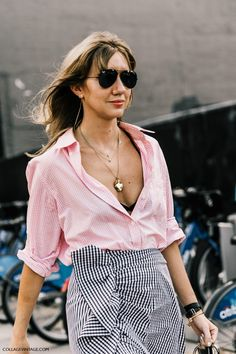 Button down and gingham skirt