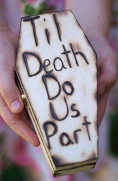 Halloween Gothic Coffin Ring Bearer Pillow Til Death Do Us Part Rustic Fall Wedding