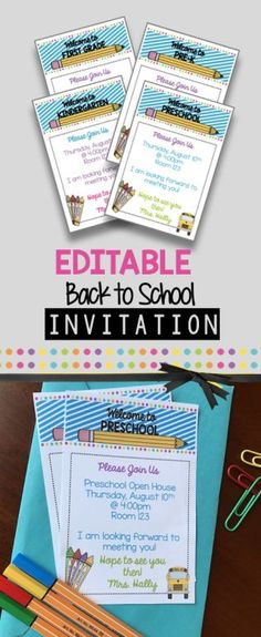 EDITABLE open house invitation you can send to parents for back to