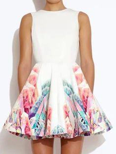 White Sleeveless Printing High Waist Backless Skater Dress