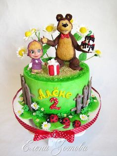 Маша и медведь - Кондитерская - Babyblog.ru Baby Girl 1st Birthday, Birthday Cake, Masha And The Bear, Bear Theme, Bear Party, Bear Cakes, Cakes For Boys, Fall Wreaths, Cute Cakes