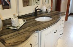 Sequoia | Oregon Tile & Marble I want this shape of vanity/stone for upstairs or downstairs master bath.
