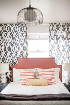 coral/apricot headboard + swirl geo window panels + brushstroke pattern pillows + glam gold sequin bolster