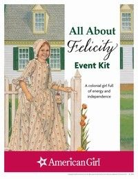 http://www.americangirlpublishing.com/marketing/printables/felicityprintableactivities.aspx  From this website, there are event planners for all the dolls.  Each event kit has fun icebreaker activities, games, and PDF puzzles.  We did the icebreaker and one game from several different dolls, and then gave the #1 book from that doll as a favor.  The girls got to learn a little about each doll.