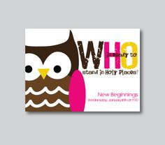 Cute owl invite for the Young Women's theme this year.