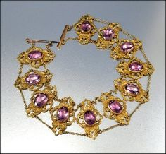 1900's jewelry | Victorian Necklace Gold Amethyst Glass Dog Collar Edwardian... | Shop ...