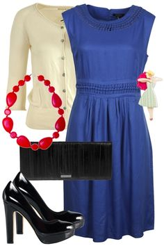 Outfit of the Day for Tuesday, August 21, 2012. Enjoy this beautiful outfit! Created around a well cut royal blue dress, worn with classic inspired black heels and clutch. Wear with a cropped cardigan for the cooler evenings or to keep the sun of your delicate shoulders. To take this outfit to the next level wear with a adorable brooch.