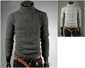 Men's Cable Knit Turtle Neck CLAM767925E