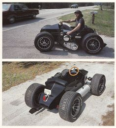 Pretty sure it& a belt, but either way it& pretty cool. I don& know the whole story, but that& a sidecar with four wheels and a bike motor strapped to it. Looks like it would be tons of fun Mini Bike, Custom Motorcycles, Cars And Motorcycles, Mini Buggy, E Quad, Pedal Cars, Go Kart, Tricycle, Car Car
