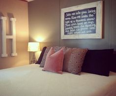 Our Romantic Farmhouse Bedroom. Thinking out loud on the chalkboard.