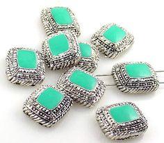 9 Turquoise marcasite style 2 hole beads 8573