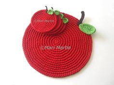Red Apple Crochet Placemat  Big Leaf Beverage Nature by MariMartin, $39.00