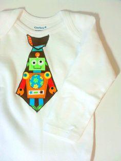 baby boy robot tie onesie