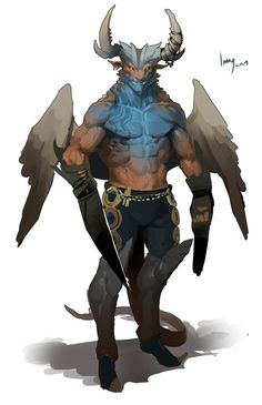 Fantastic creature with wings. Grey tones. Blue torso