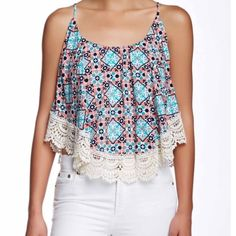 ADORABLE POPOVER TANK Crochet trim popover tank  The cutest!!  So adorable!! It is cropped a little so a tank isn't really necessary unless you want one. Shelf bra!! Yay!  Love the colors and the trim is precious!! No PayPal No trades Price firm unless bundled Tops Tank Tops