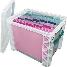 "Advantus Super Stacker® File Box, Clear, 11.25"" H x 10.5"" W x 14.5"" L"