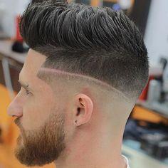 Pompadour +Low Skin Fade + Beard