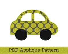 Car Applique Template, Vehicle, Transport, DIY, PDF Pattern by Angel Lea Designs. $2.30, via Etsy.