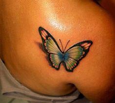 3D butterfly tattoo 20 - 65 3D butterfly tattoos   <3