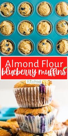 These Almond Flour Blueberry Muffins are packed with juicy blueberries to create tender, fluffy, moist muffins! All you need are 8 healthy, wholesome ingredients to make these naturally gluten-free blueberry muffins. Healthy Muffin Recipes, Healthy Muffins, Healthy Dessert Recipes, Real Food Recipes, Snack Recipes, Healthy Snacks, Breakfast Recipes, Healthy Cheesecake, Healthy Cake