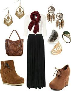 Black maxi skirt outfit idea