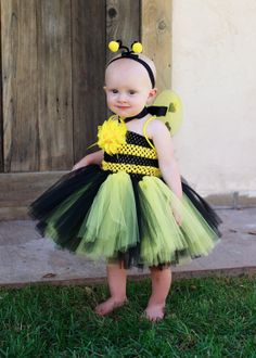 Mini Bumblebee Tutu Dress w/ wings & antennas by TutuManiaDressUp, $20.00