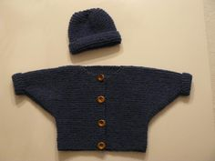 One-piece Baby Sweater pattern Use markers at the start of the side decreases. It will make it easier to count your rows to match the left and right front pieces up. Hat is the Jollyville pattern from Lion Brand http://www.lionbrand.com/patterns/90345AD.html?noImages=0