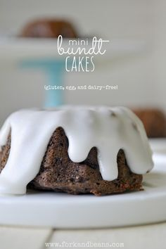 Mini Chocolate Bundt Cakes (gluten, egg, and dairy free)