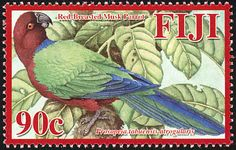 Stamps showing Maroon Shining Parrot Prosopeia tabuensis, with distribution map showing range Fiji Islands, Birds, Parrots, Gallery, Stamps, Animals, Flowers, Seals, Animales