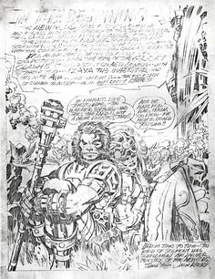 Below are adjusted scans of photocopies taken in the Kirby home of Jack Kirby's pencil script and art containing the first appearance of Darkseid's uncle, Steppenwolf. Comic Book Pages, Comic Books Art, Comic Art, Dc Comics Art, Marvel Comics, Jack King, Jack Kirby Art, Comic Illustrations, Comic Book Collection