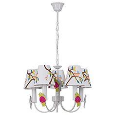 Lampada pendente per bambini paralume tessuto acrilica con pattern uccelli metallo bianco Ø 43cm 5-bulb exl, E14 5x40W 230V: Amazon.it: Illuminazione