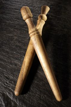 Martin Demen  -  spurtles, or traditional porridge stirrers, were turned on a foot-powered pole-lathe.