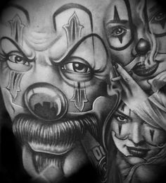 Gangsta Tattoos, Chicano Tattoos, Chicano Drawings, Body Art Tattoos, Payasa Tattoo, Clown Tattoo, Inca Tattoo, Arte Cholo, Cholo Art