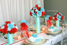 Aqua and Red Wedding Flowers