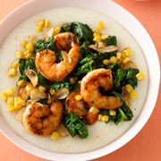 Cajun shrimp, spinach and grits—spice up your table with this colorful meal in just 20 minutes! #recipes
