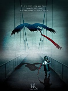"""ALTER BRIDGE """"BLACKBIRD"""".... Love this song, it's about loss, and finding each other again.  I love this picture... the blackbird is carrying.... red  :)   and the little girl has the other half.  This one hits home."""