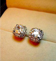 Classic Square Stud Earrings,18k White Gold Plated, Genuine Austrian Crystal, Big White Diamond, via Etsy.
