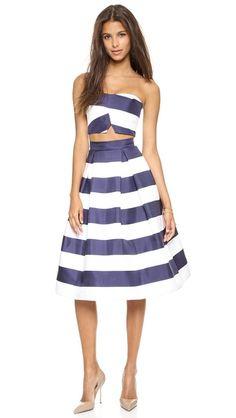 Nicholas Navy Stripe Silk crop top and a-line skirt