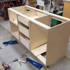 Got the drawers and slide outs all done and installed. These @kregjig drawer mount jigs come in handy when you have a big gap between shelves and don't have or want to cut spacers that big. That slide out on the left is a perfect example of what I'm talking about. These would be great on face frame cabinets with a single drawer up top over a door too. #hangingdrawers #kregjig #sponsored #fixthisbuildthat