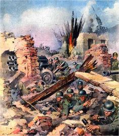 Second World War-Italian Campaign The Battle for Cassino on an illustration of the newspaper La Domenica del Corriere April German infantry entrenched in the rubble armed. Get premium, high resolution news photos at Getty Images German Soldiers Ww2, German Army, Military Art, Military History, Kargil War, Italian Campaign, Military Drawings, Ww2 Pictures, World War One