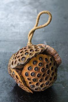 Natural Decorative Lotus seed Pod string embroider by SakaraStyle