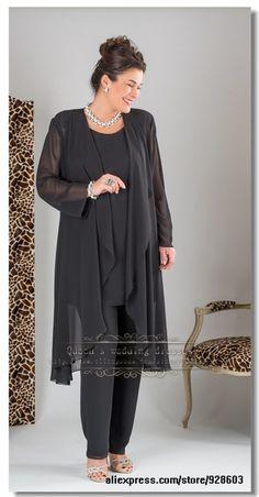 Más el tamaño Elegante Negro tres picec trajes de pantalón de Gasa madre de la novia con la chaqueta larga 2014