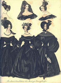 Just pic. Link has no pattern || english fashion 1860s - mourning