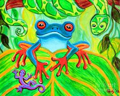acrylic paintings of snakes | Frog Snake And Gecko In The Rainforest Painting - Frog Snake And Gecko ...