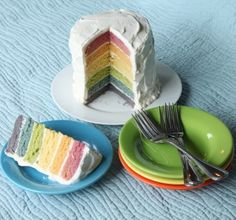 Rainbow cake with natural food dyes; beet juice, carrot juice, egg yolk, spinach juice, blueberry juice, blackberry juice