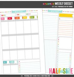 "UNplan HS Weekly Docket - Planner Page Printables PDF - 5.5"" x 8.5"" - instant download"
