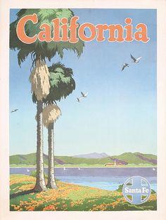 1940s California Santa Fe Rail Travel Poster