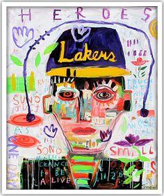 Troy Henriksen - Lakers Heroes - Acrylique et mixte sur toile - 146 x 114 cm - 2016 - Galerie W - Galerie d'Art contemporain à Paris #galeriew #gallery #w #gallery w #troy-henriksen @galeriew