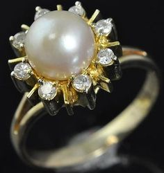 14K Yellow Gold Akoya Pearl Diamond Halo Starburst Solitaire w/ Accents Ring 8