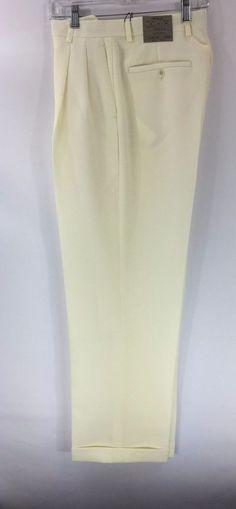 Men's Ivory Dress Pants 2-Pleats with Cuff Hem Polyester Pacelli Pierce 30 - 60 #Pacelli #DressPleat